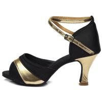 HROYL Women's Standard Latin/Modern/Jazz/Samba/Salsa/Tango Dance Shoes Satin Ballroom US-806