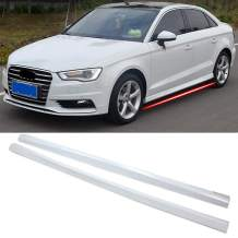 NINTE Side Skirt for 2013-2019 Audi A3 Sedan, PP Glacier White Side Bottom Line Extension Lip