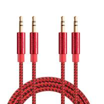 3.5mm Aux Cable, CableCreation 3.5mm Male to Male Stereo Audio Cable Compatible with iPhones, Fire HD Tablets, Sony/Beats Headphones, Home/Car Stereos & More, [2-Pack/ 1.5Feet]