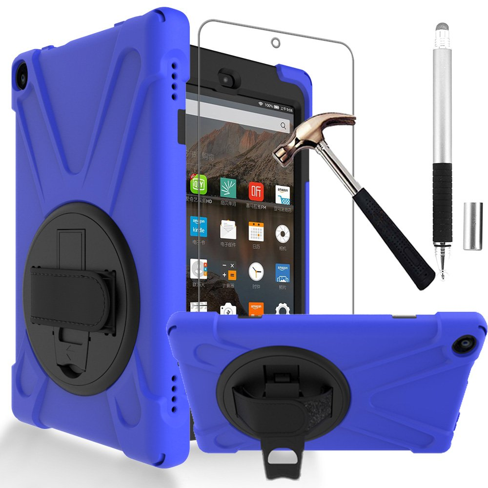 Gzerma Fire HD 8 Case 7th / 8th Generation with Fire HD8 Screen Protector 2017 2018, 3in1 Shockproof Heavy Duty Cover with Hand Strap, Stylus Pen, Rotating Stand for Amazon Kindle Fire 8 (Navy)