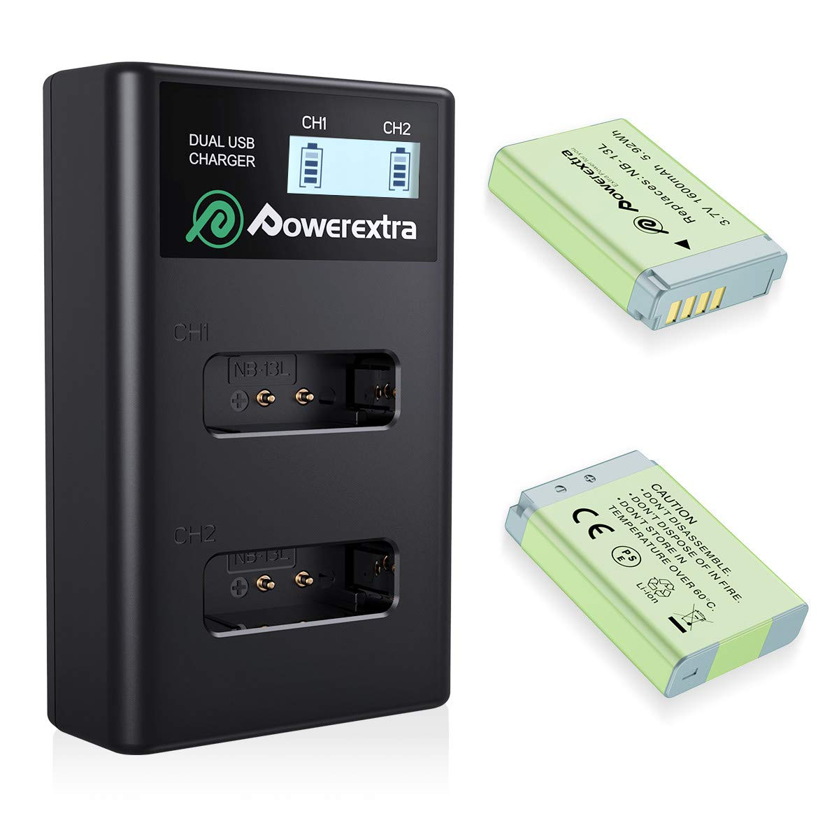 NB-13L Powerextra Battery Packs and USB Charger Set for Canon PowerShot SX720 HS, SX730 HS, SX740 HS, SX620 HS, G1 X Mark III, G5 X, G7 X, G7 X Mark II, G9 X, G9 X Mark II Cameras