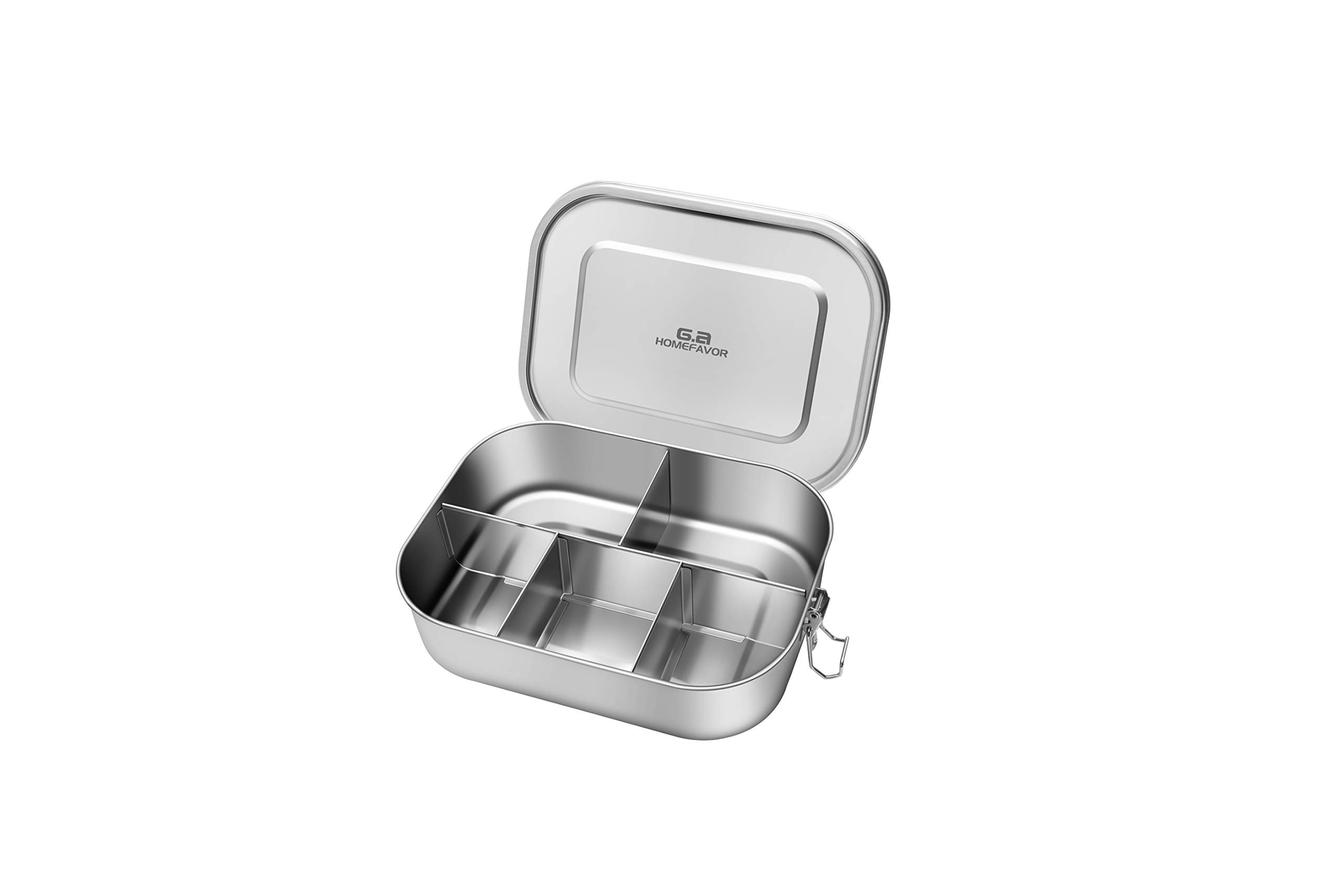 G.a HOMEFAVOR Leak Proof Stainless Steel Bento Box,1400ml Lunch Containers with 5 Compartment Great for School, Office Lunch, Travel, Picnic, Eco-Friendly - Dishwasher Safe