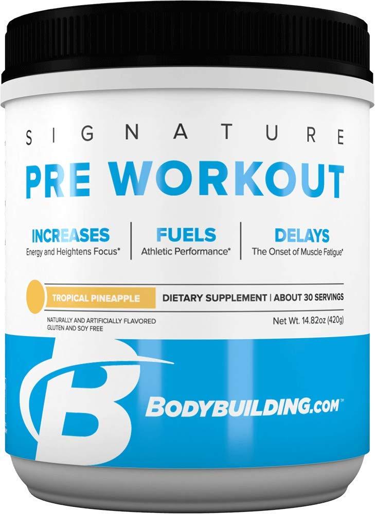 Bodybuilding Signature Pre Workout Powder | CARNOSYN, L-LEUCINE, L-CITRULLINE | Increases Focus, Fuels Performance | Tropical Pineapple, 30 Servings