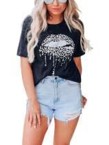 Elosele Womens Cool Lips Bite Kiss Me Leopard Print Cheetah T-Shirt Short Sleeve Cute Graphic Teen Girls Tee Tops