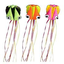 """Set of 3 Large 157.5"""" High Cartoon Big Round Eyes Octopus Kites with Colorful Ribbon and Kite Board with 98.4 Foot String for Kids Toy Enjoy Parent-Child Time Beach Park Outdoor"""