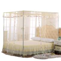 JQWUPUP Mosquito Net for Bed - 4 Corner Canopy for Beds, Canopy Bed Curtains, Bed Canopy for Girls Kids Toddlers Crib, Bedroom Decor (Twin Size, Beige)