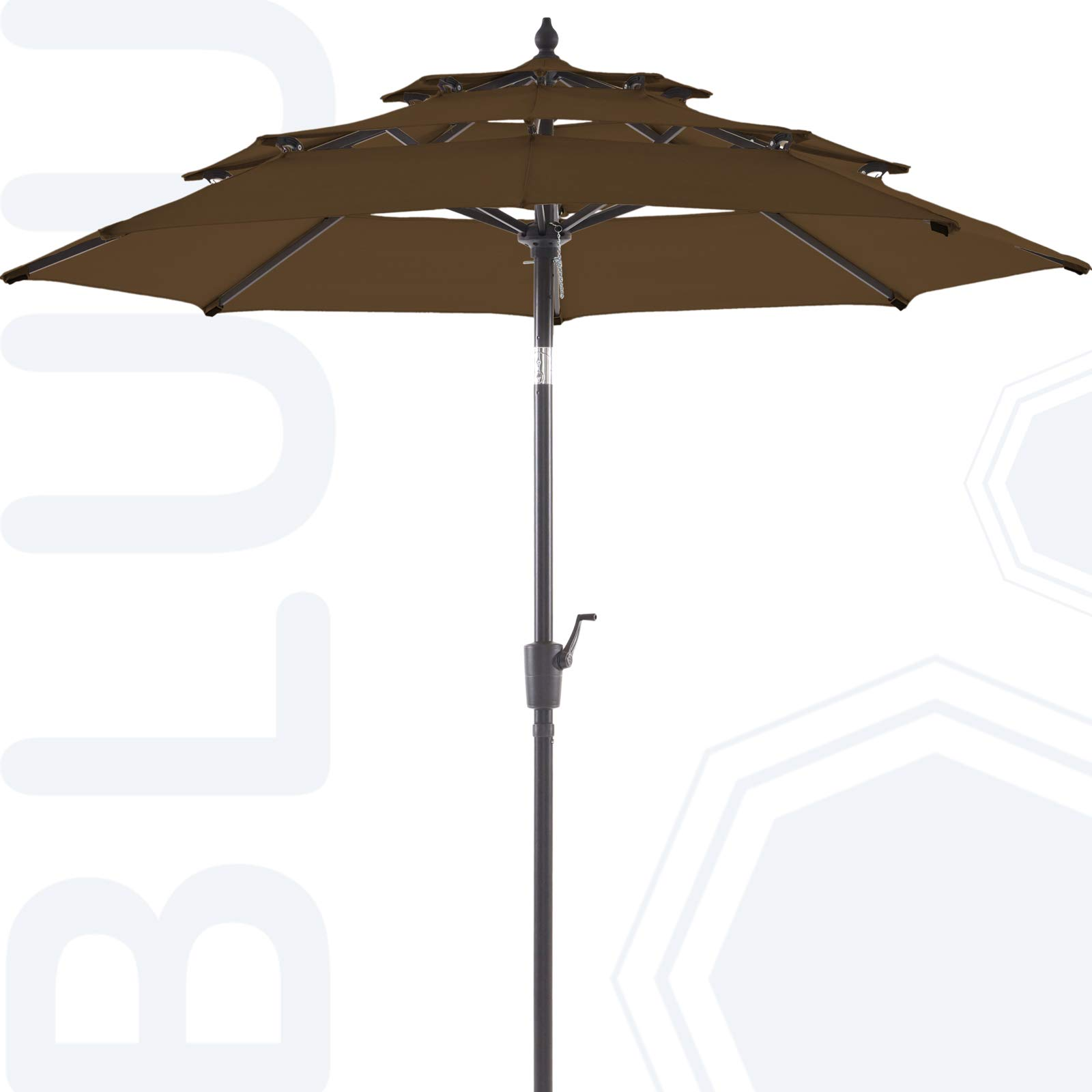 BLUU Olefin 9 FT 3 Tier Patio Market Umbrella Outdoor Table Umbrellas - Fade Resistant Fabric, Market Clearance Umbrellas with 8 Sturdy Ribs & Push Button Tilt for Garden, Lawn & Pool (Mocha)