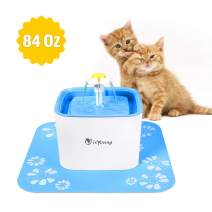 isYoung Pet Water Fountain 84Oz/2.5L Cat Water Fountain Dog Water Dispenser Pet Drinking Fountain for Dog, Cat and Small pet.
