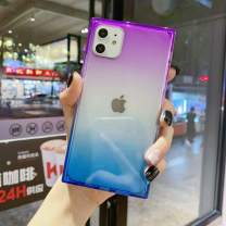 iPhone 11 Case for Women,Tzomsze Clear Square Case Cute Gradient Slim Silicone Transparent Reinforced Corners TPU Cushion Cover Case for iPhone 11 [6.1 inch]-Purple Blue