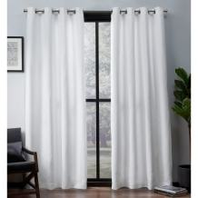 Exclusive Home Curtains Leeds Textured Slub Woven Blackout Window Curtain Panel Pair with Grommet Top, 52x84, Winter White, 2 Piece