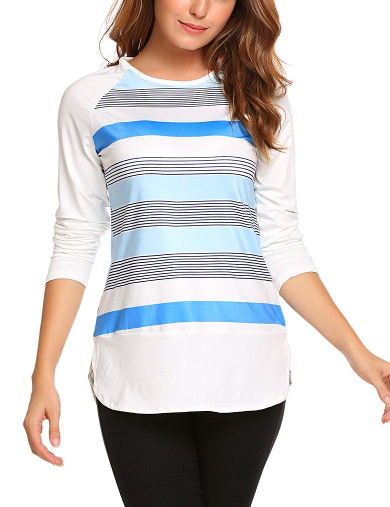 Naggoo Women's Striped Color Block Raglan Sleeve Baseball Tees Shirts Tunics Tops