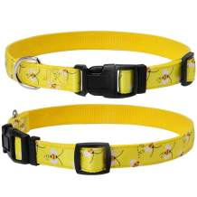 EXPAWLORER Escape Proof Dog Collar with Bee Pattern Bright Color Soft and Comfortable Nylon Adjustable Collars for Dogs Yellow