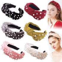 Headbands Women Hair Head Bands - 6 Pcs Pearl Knotted Head Bands Cute Velvet Top Knot Turban Hairbands Fashion Girls Vintage Boho Beauty Wide headbands Fashion Hair Accessories