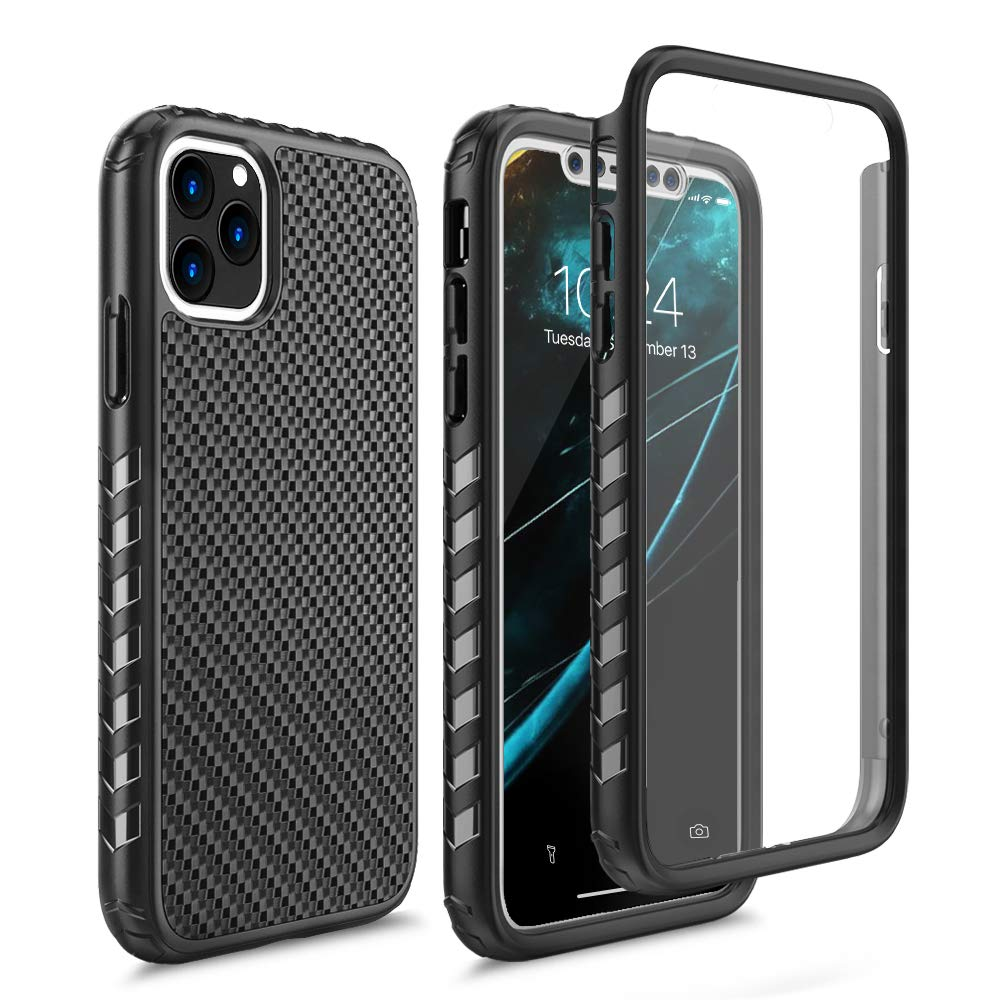 WWW iPhone 11 Pro Case,Full Body Rugged Case with Built-in Clear Screen Protector, Ultra Thin Shock-Absorbing [Supports Wireless Charging] Dustproof Case for iPhone 11 Pro 5.8 Inch (2019) Black