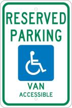 NMC TMS319J Reserved Parking Van ACCESSIBLE Sign, Michigan - 12 in. x 18 in. Heavy Duty Reflective Aluminum Sign with Handicap Graphic