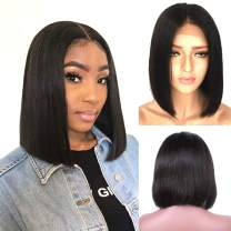 Short Black Lace Front Bob Human Hair Wigs for Women Real Remy Hair Swiss Lace Frontal Pre Plucked Bleached Knots with Baby Hair Glueless Silky Straight Natural Color 180% Density Even End 8 Inch