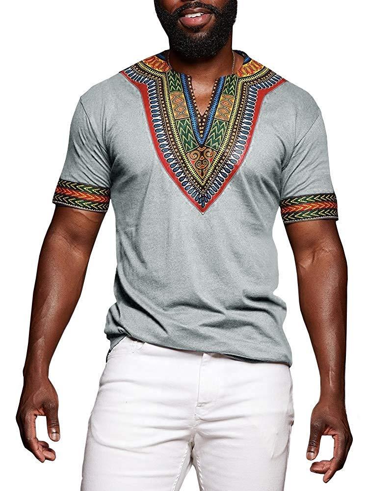 Huiyuzhi Men's African Print Dashiki T-Shirt Summer Short Sleeve Fashion Tops Tee