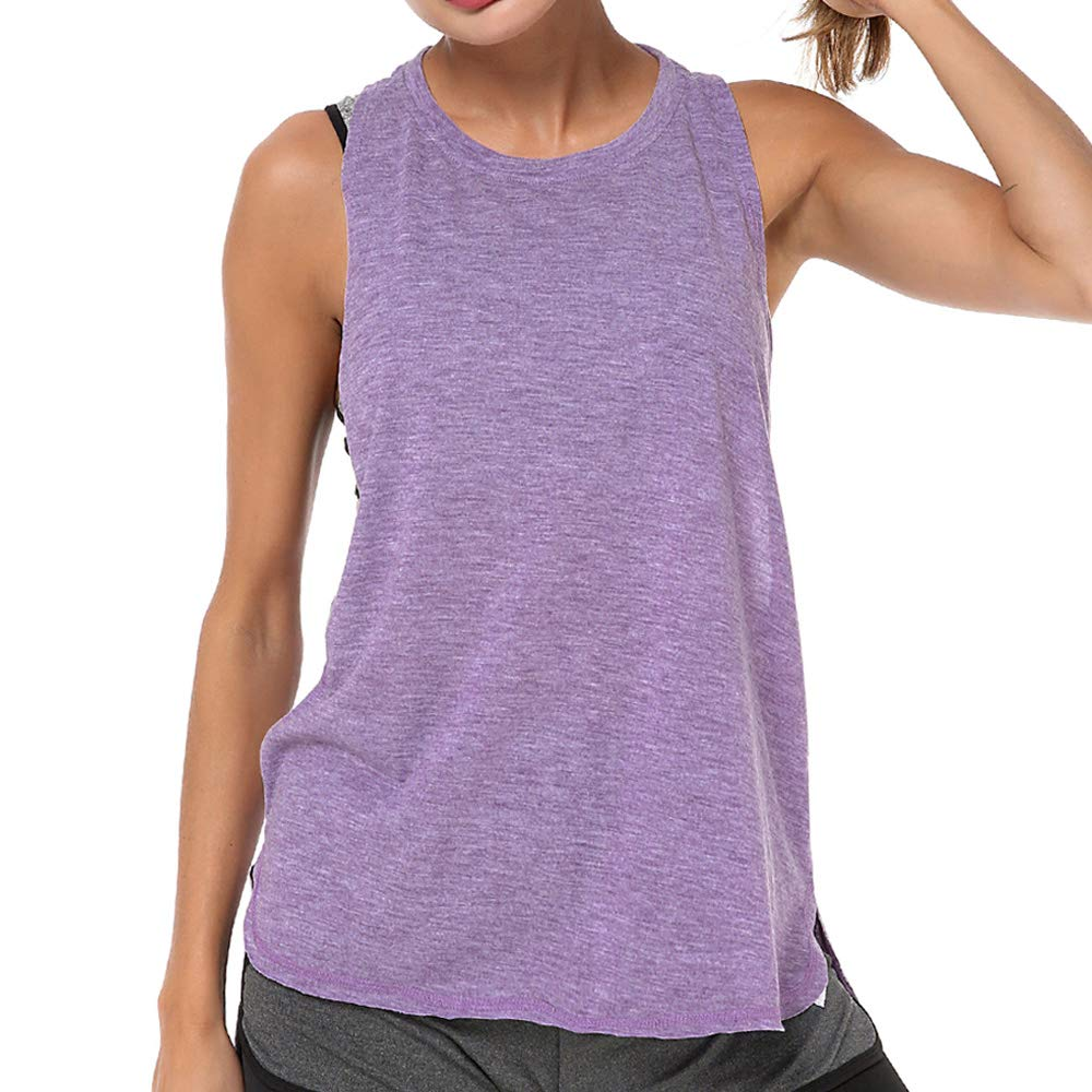 LIERKISS Athletic Women Tank Tops Loose Fit Activewear Workout Clothes Sports Racer Back Cotton Shirts