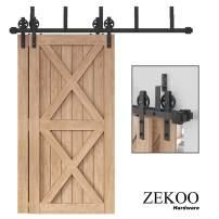 ZEKOO Rustic 5-16 FT Bypass Door Hardware Sliding Black Steel Big Wheel Roller Track for Double Wooden Doors (12FT Bypass Double Door Kit)