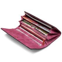 LAORENTOU Genuine Leather Women Bifold Wallet Long Clutch Wallets Card Holder