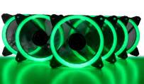 CUK 5-Pack Green Halo Ring 120mm LED Vibrant Color Computer Case Fan for CPU Coolers and Radiators - High Airflow 45 CFM & Anti-Vibration Pads