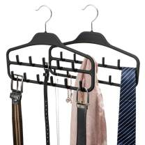 FairyHaus Belt Hanger Organizer 2 Pack, Non Slip Tie Rack Holder, Durable Hanging Closet Accessory Hooks for Belts, Ties, Jewelry, Scarves, Tank Tops, Black