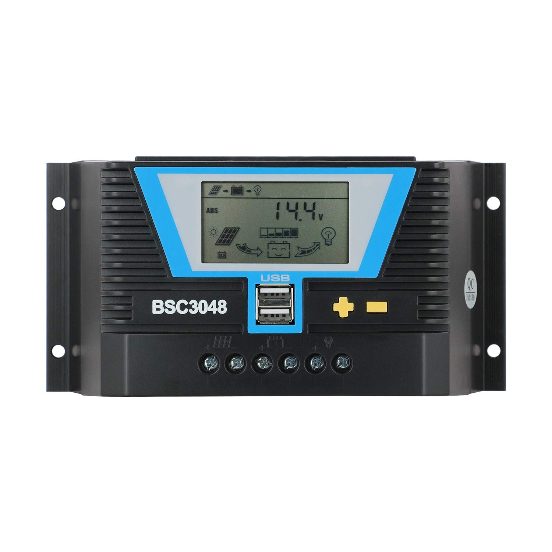 PWM Solar Controller 30amp, 12V 24V 36V 48V Auto PV Charge Controller Dual USB Output, Fit for Lithium/Lead-Acid Battery Regulator