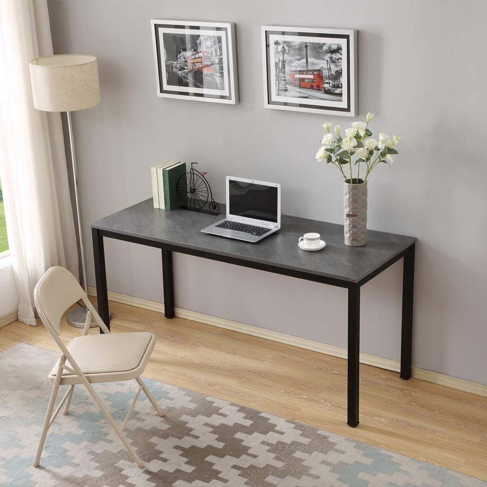 "Need Large Computer Desk Writing Desk for Home Office 60"" Length AC3LB-E1 Slate Ash Colour Tabletop & Matte Black Frame Breakroom Table"