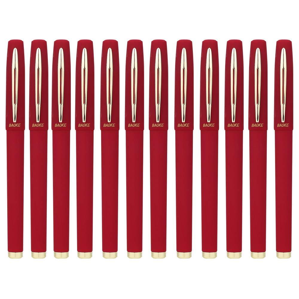 Baoke Gel Ink Pens Rollerball Pens 1.0mm Medium Line, Box of 12 Pack, PC1848 (red)