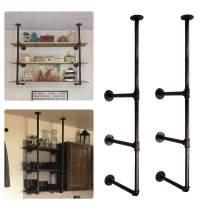 GoYonder Industrial Wall Mounted Iron Pipe Shelf, Retro Bookcases Rustic Hung Bracket DIY Storage Shelving Bookshelf Utility Shelves (Bronze, 2 pcs)
