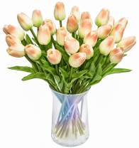 JOEJISN 30pcs Artificial Tulips Flowers Real Touch Champagne Tulips Fake Holland PU Tulip Bouquet Latex Flowers for Wedding Party Office Home Kitchen Decoration (Champagne)