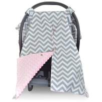 2 in 1 Carseat Canopy and Nursing Cover Up with Peekaboo Opening   Large Infant Car Seat Canopy for Girl or Boy   Best Baby Shower Gift for Breastfeeding Moms   Chevron Pattern with Soft Pink Minky