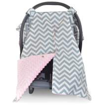 2 in 1 Carseat Canopy and Nursing Cover Up with Peekaboo Opening | Large Infant Car Seat Canopy for Girl or Boy | Best Baby Shower Gift for Breastfeeding Moms | Chevron Pattern with Soft Pink Minky