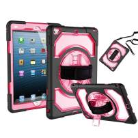 """iPad 5th / 6th Generation Case, FANSONG Heavy Duty Construction Shockproof Full Body Protective Case with 360 Rotatable Kickstand & Hand Held Strap Universal Cover for New iPad 9.7 2018/2017 9.7"""""""