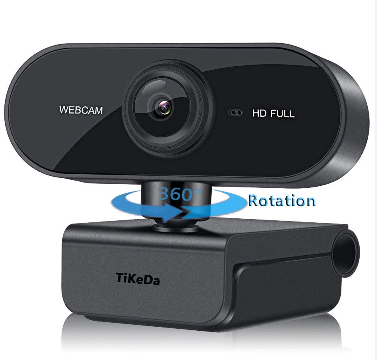 TiKeDa 1080P Webcam with Microphone & 360° Rotation Clip,110-degree Wide Angle HD Auto Focus,Dual Stereo Mics, Widescreen USB Camera for PC/Mac Laptop/Desktop Streaming Video Calling Recording Confere