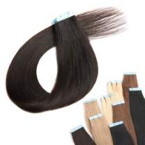 "Benehair Rooted Tape in Hair Extensions Human Hair Dark Brown Skin Weft 18 inches Long Straight Real Remy Hair Double Sided Invisible Tape ins for Women 20pcs 30g (18"" #2)"