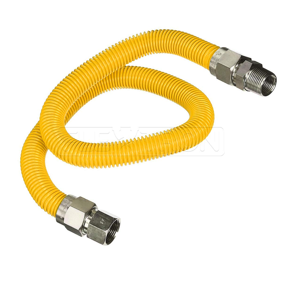 Flextron FTGC-YC12-60C Flexible Epoxy Gas Line, Gas Pipe Connector With 5/8 in. Outer Diameter and 1/2 in. Inside Diameter; 1/2 in. FIP x 1/2 in MIP Fittings; Yellow/Stainless Steel Gas Hose 60 in. Long