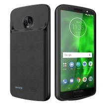 NEWDERY Moto G6 Battery Case 4000mAh, Slim Rechargeable Extended Charger Case with Raised Lips and Flexible TPU Edge for Motorola Moto G6th Generation– Black