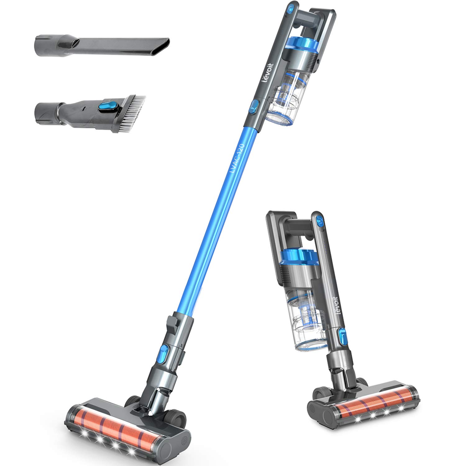 Cordless Vacuum Cleaner, LEVOIT Stick Handheld Lightweight Vacuum with 150W Powerful Suction for Hardwood Floor Pet Hair Carpet Car, Rechargeable Lithium Ion Battery and LED Brush, Blue & Gray
