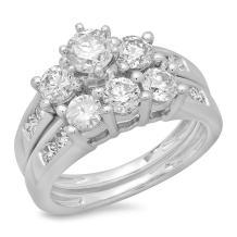 Dazzlingrock Collection 2.25 Carat (ctw) 14K Gold Round Diamond Ladies Bridal 3 Stone Engagement Ring Matching Band Set 2 1/4 CT