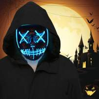 FLY2SKY 2PC Blue Halloween Mask Light Up Toys LED Light Up Mask LED Mask Glowing Mask Frightening Luminous Halloween Cosplay LED Purge Mask for Festival Entertainment Halloween Party Favors for Kids
