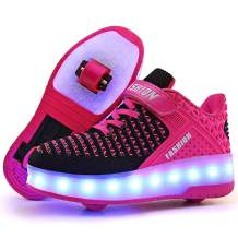 Ufatansy Roller Shoes Girls USB Rechargeable Roller Skate Shoes LED Fashion Sneakers Kids Skateboarding for Boys Shoes with Wheels Comfortable Mesh Surface Thanksgiving Christmas Day Best Gift