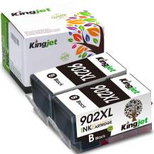 Kingjet Compatible Ink Cartridge Replacement for HP 902 902XL for OfficeJet Pro 6978 6968 6975 6960 OfficeJet 6951 6954 6956 6958 6962 6950 All-in-One Printer, 2 Black with Upgraded Chip