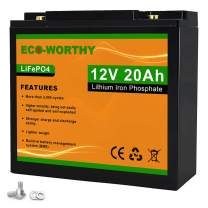 ECO-Worthy 12V 20Ah Lithium Iron Phosphate Battery, Rechargeable LiFePO4 Battery Pack, 3000 Times Deep Cycle