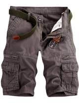 Men's Lightweight Multi Pocket Casual Cargo Shorts with No Belt (1.Grey Green, US33=34)