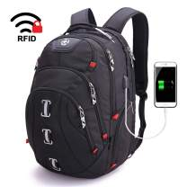 Swissdigital Pixel Travel Laptop Backpack-Laptops Backpack with USB Charging Port Smart Bag with RFID for Men & Women School Computer Bags Fits 15.6 Inch Laptop and Notebook, Black (SD-857)