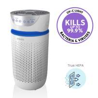 HoMedics TotalClean Tower Air Purifier for Viruses, Bacteria, Allergens, Dust, Germs, HEPA Filter, UV-C Technology, 5-in-1 Purifying with Ionizer, Carbon Odor Filter for Small Rooms, Home Office,White