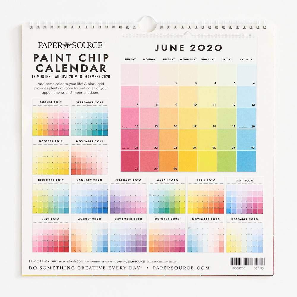 """Paper Source 2019-2020 17 Month Paint Chip Calendar, 12 1/4"""" x 12 1/4"""""""