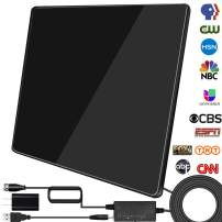 [Newest 2020] HDTV Antenna,Indoor Digital TV Antenna Amplified 150 Miles Range Support 4K 1080P VHF UHF&Older TV's Digital Antenna with Signal Booster,17ft Coax Cable/USB Power Adapter (Black)
