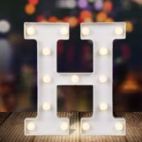 ODISTAR LED Light Up Marquee Letters, Battery Powered Sign Letter 26 Alphabet with Lights for Wedding Engagement Birthday Party Table Decoration bar Christmas Night Home,9'', White(H)